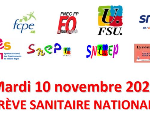 10 novembre 2020 – GREVE SANITAIRE